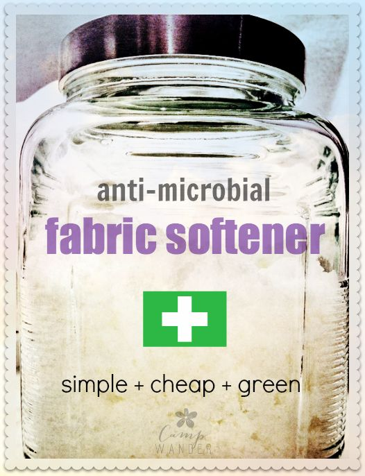 Anti-microbial Fabric Softener!  Simple, green and cheap way to sanitize your laundry.