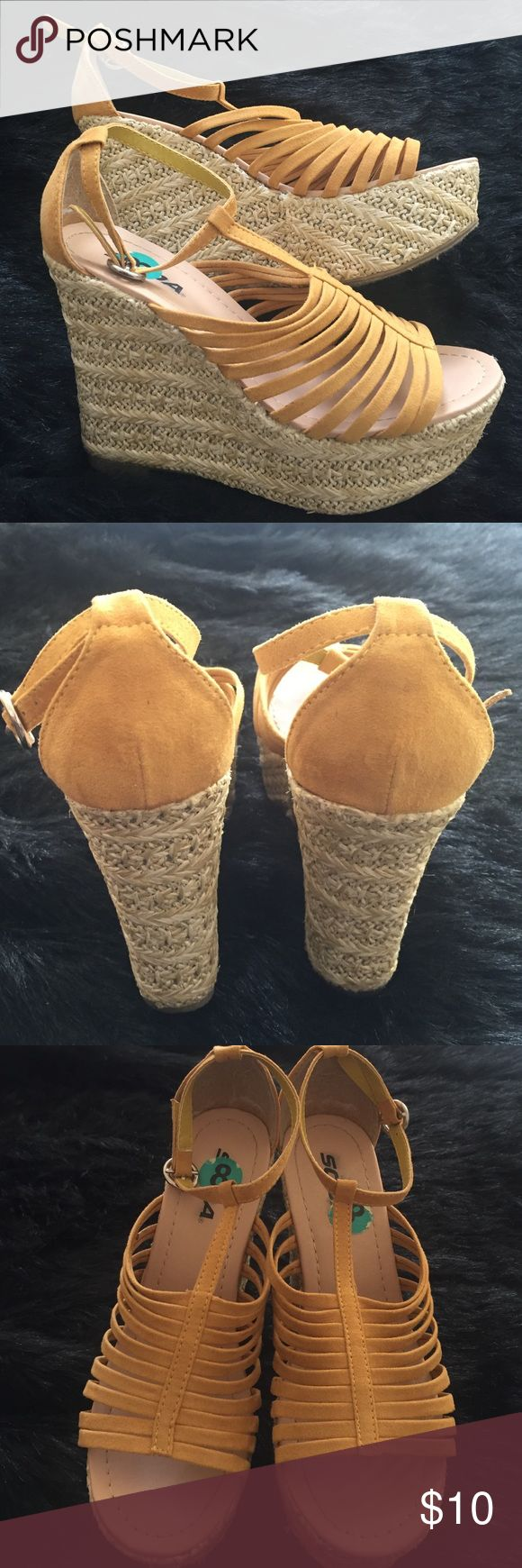 Worn once! Cute yellow espadrilles! Cute yellow espadrilles! Soda Shoes Espadrilles