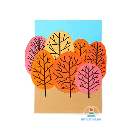 Осенняя аппликация «Лес» из цветной бумаги: мастер-класс для малышей