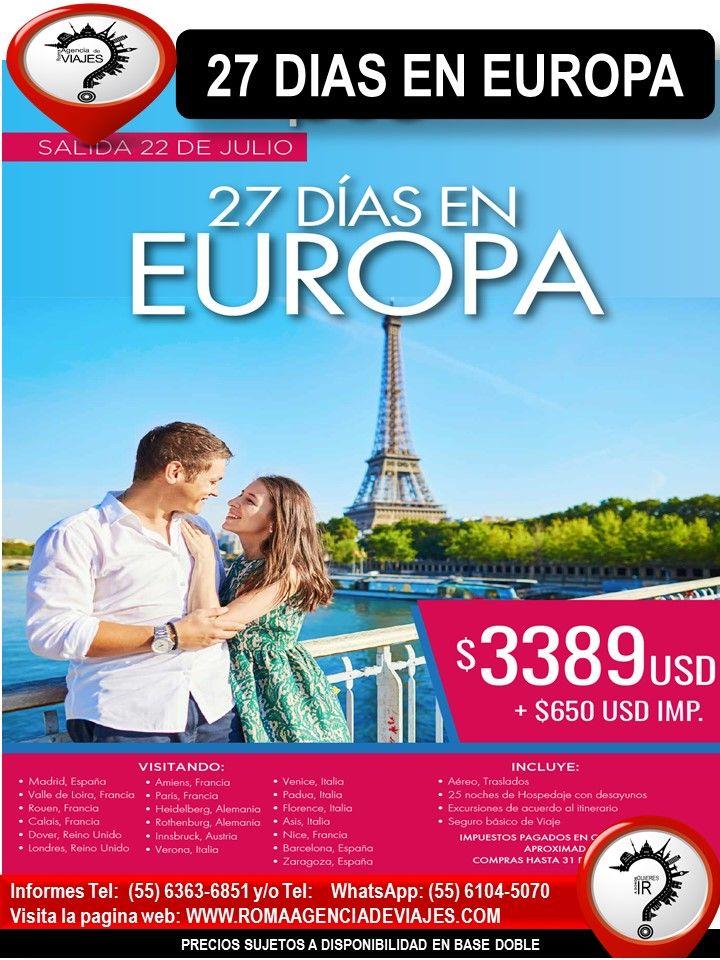 """27 DIAS EN EUROPA  Llámanos al 4172-0263 y/o 6363-6851 Mándanos un Whatsapp al 55 6104-5070 escríbenos al correo: buzon@romaagenciadeviajes.com También puedes visitar la pagina web: www.romaagenciadeviajes.com donde pulsando el botón de BOLETOS podrás reservar en linea las 24 hrs del día Boletos Aéreos, Hoteles y Paquetes y aprovechar los meses sin intereses con las tarjetas participantes.  """"El mejor de los viajes es el próximo"""" Viaja con Roma Agencia de Viajes"""
