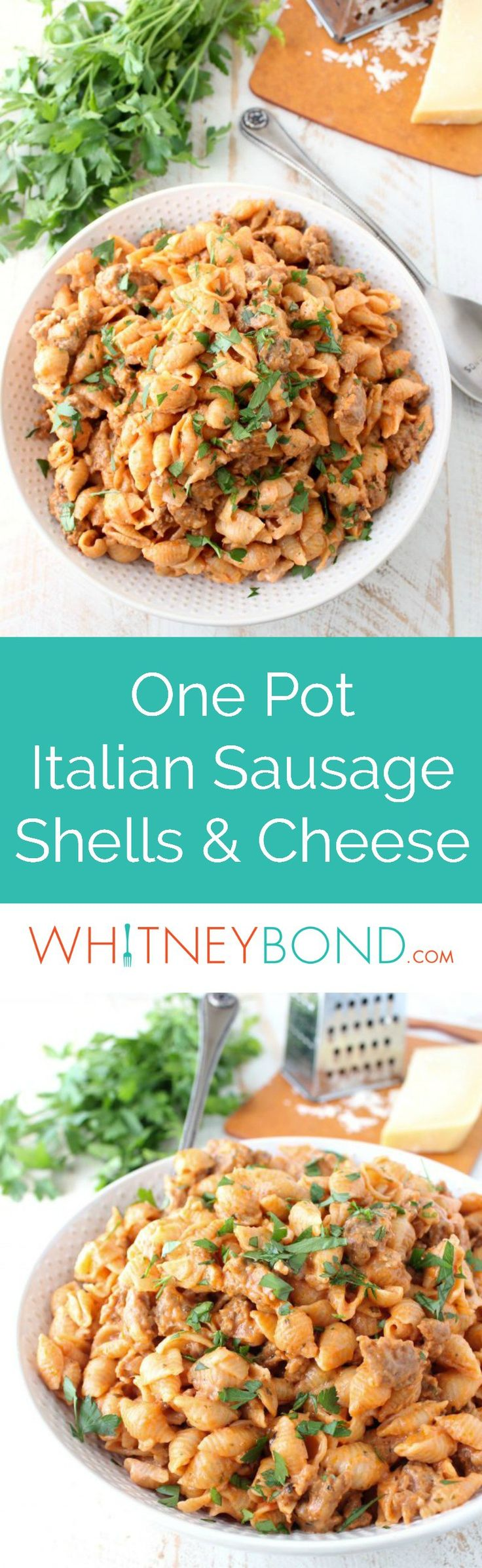 In one pot and under 45 minutes, prepare this Italian style Shells and Cheese recipe, filled with flavorful sausage, tomato sauce, and three cheeses! The @worldmarket Large White Textured Stoneware Bowl is perfect for serving this delicious mac and cheese recipe! #WorldMarketTribe - WhitneyBond.com