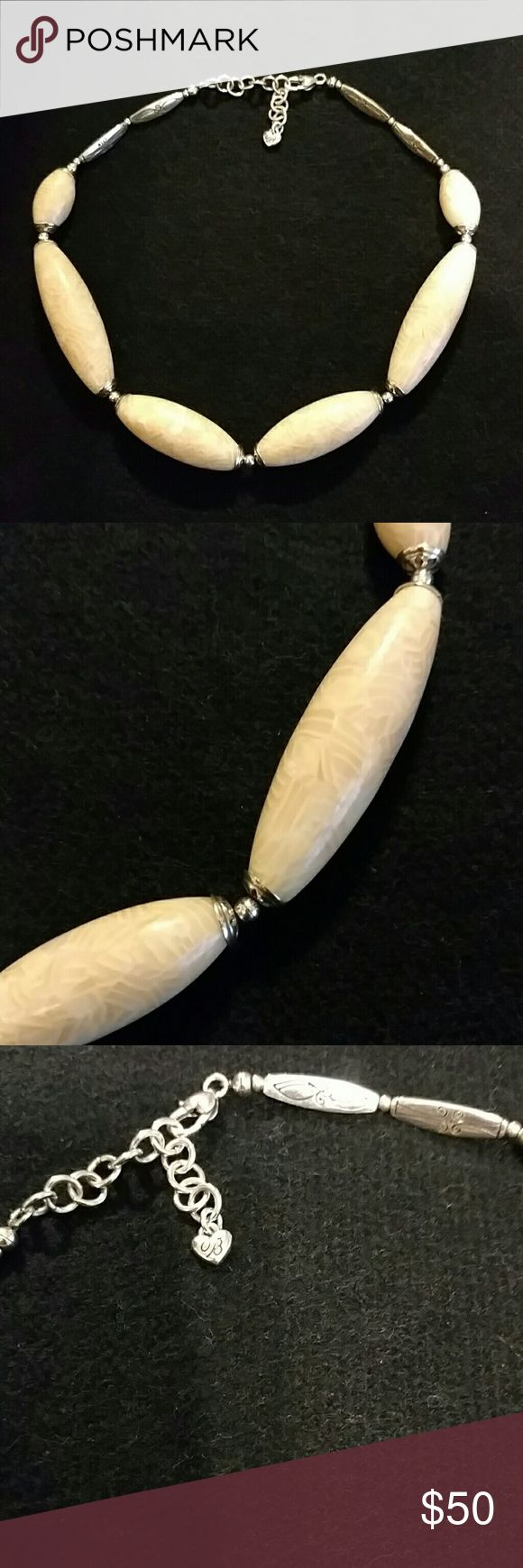 """Brighton Necklace Cream and beautifully scrolled design. Unique Brighton piece. 16"""" long with an additional 2.5"""" extender. No tarnishing. EUC comes with Brighton pouch. Brighton Jewelry Necklaces"""