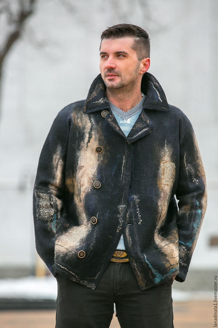"""Купить Куртка мужская """" Al mare nero"""" валяние, одежда из войлока.Резерв - абстрактный"""