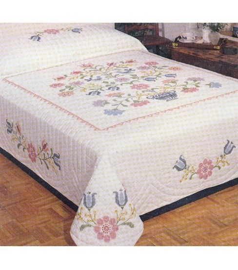 Colonial Stamped Cross Stitch Quilt-90''x103''
