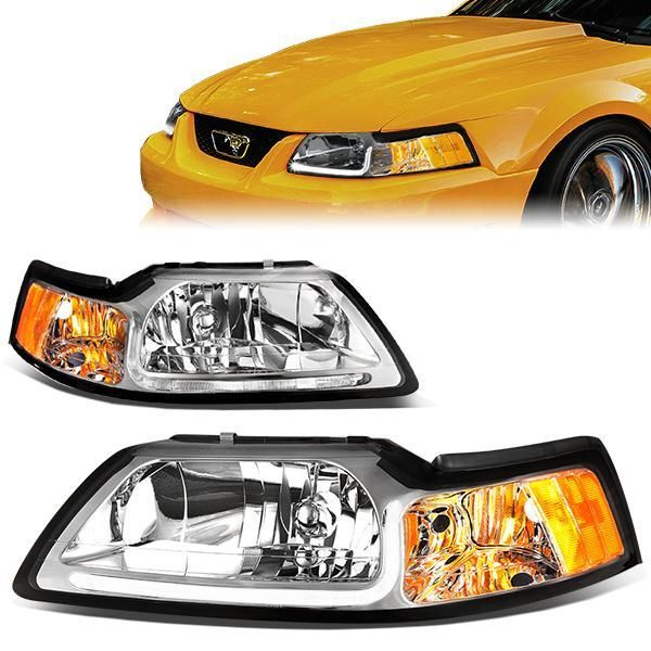 99 04 Ford Mustang Gt Led Drl Headlights Chrome Housing Amber Corner Ford Mustang Ford Mustang Gt Mustang