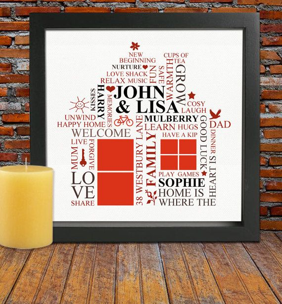 Personalized Housewarming gift - House warming gift, New home word art design, new home gift,FRAMED new family home gift
