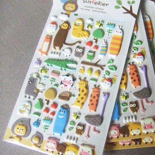 """Stickers """"Animaux"""" via Mes folies kawaii."""