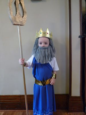 DIY Poseidon costume for kids - $10- I like the idea of the beard and wig, I want to add some small star fish and seaweed and probably use something a little more realistic for the beard.