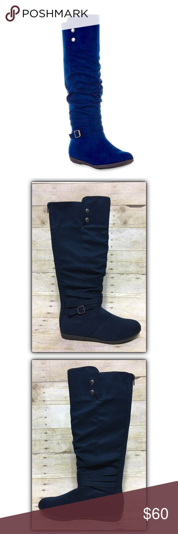 Gorgeous navy slouchy faux suede tall riding boot Gorgeous navy slouchy faux suede tall riding boot, sz. 7. Bundle discounts available! Sorry no trades 😊 Instagram: dejavuapparel Pinterest: dejavuapparel  Twitter: _dejavuapparel  UB2C Shoes Combat & Moto Boots