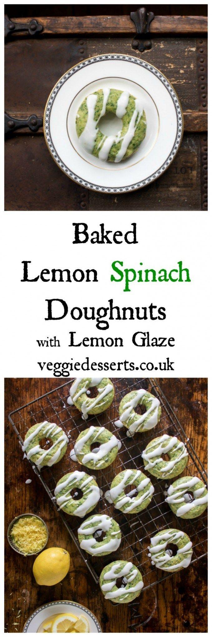 Baked Lemon Spinach Doughnuts with Lemon Glaze   Veggie Desserts Blog