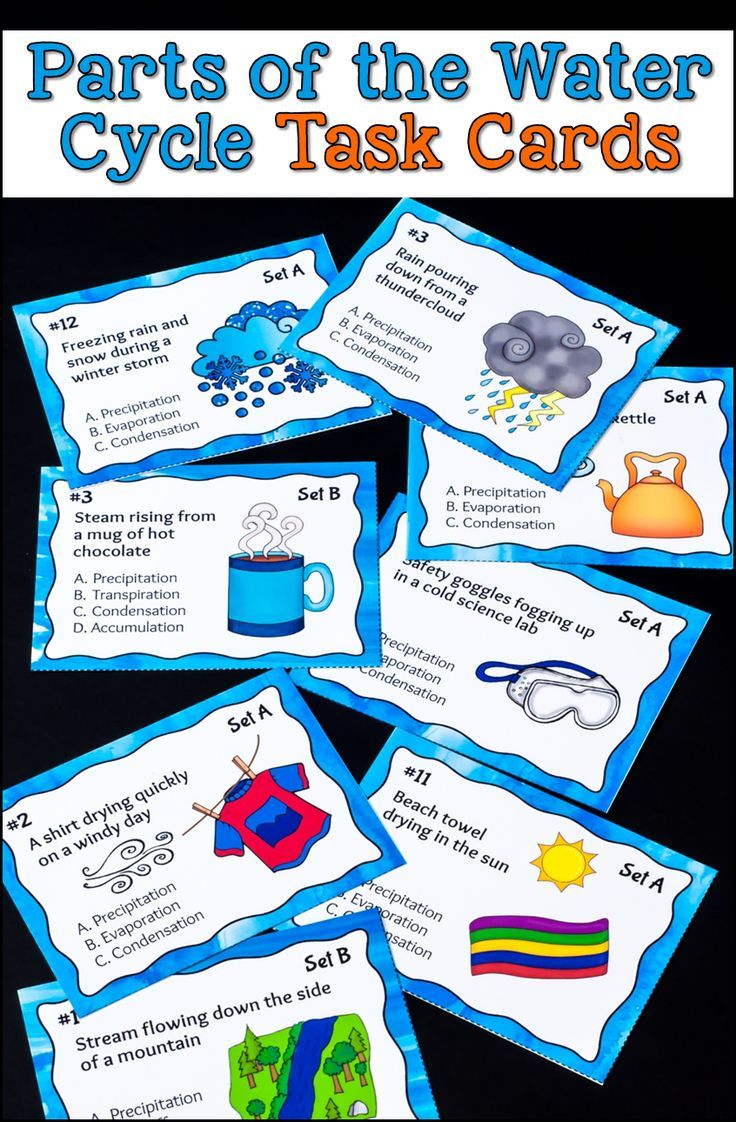 Parts of the Water Cycle Task Cards will help your students recognize evidence of condensation and evaporation all around us. Includes 2 levels of task cards with 24 cards in each set. Black and white versions are included, too. $ #LauraCandler