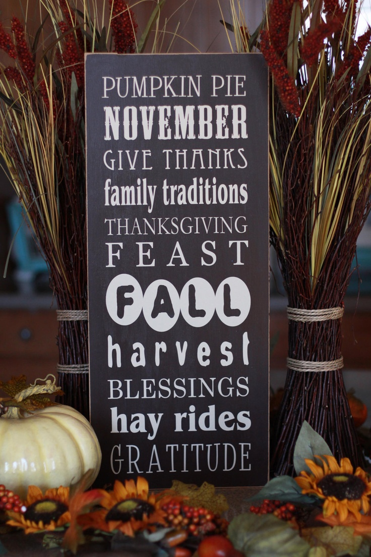 Thanksgiving/Fall Subway Art-- 10x24 decorative wooden sign, typography. $34.00, via Etsy.