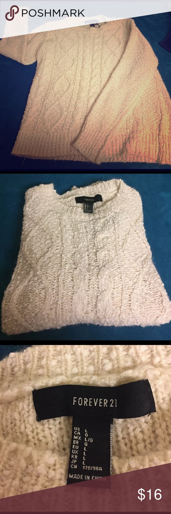 Cable knit Irish sweater Comfy Irish-style sweater. Paired with a cami underneath, this sweater is a super cute fall and winter look. Runs a bit small, sized large but fits like a medium. Prices as always are negotiable, offers and trades accepted. Forever 21 Tops Blouses