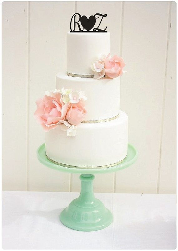 Wedding Cake Topper Monogram with Heart Cake Topper 6 Inch Personalized with YOUR Letters