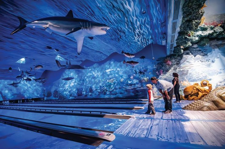 Go bowling at an undersea aquarium with sea turtles and stingrays!