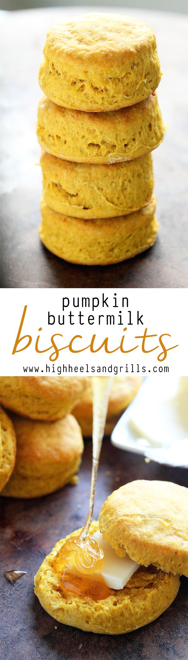 Pumpkin Buttermilk Biscuits - Tall, flaky, pumpkiny, biscuits that are perfect for fall time!