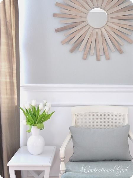 Paintstick Sunburst Mirror DIY! Free paintsticks + some creativity= Beautiful wall hanging mirror!: Paint Sticks, Sticks Sunburst, Paintings Sticks, Paintings Stirrers, Sunburst Mirror, Diy Sunburst, Starburst Mirror, Diy Mirror, Diy Projects