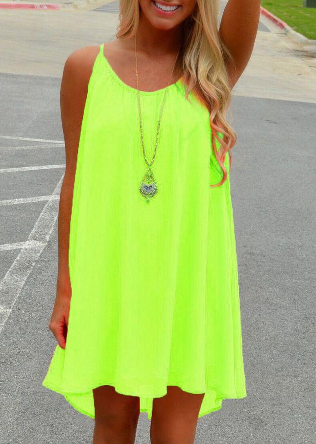 Spaghetti Strap Hollow Shift Neon Green Dress