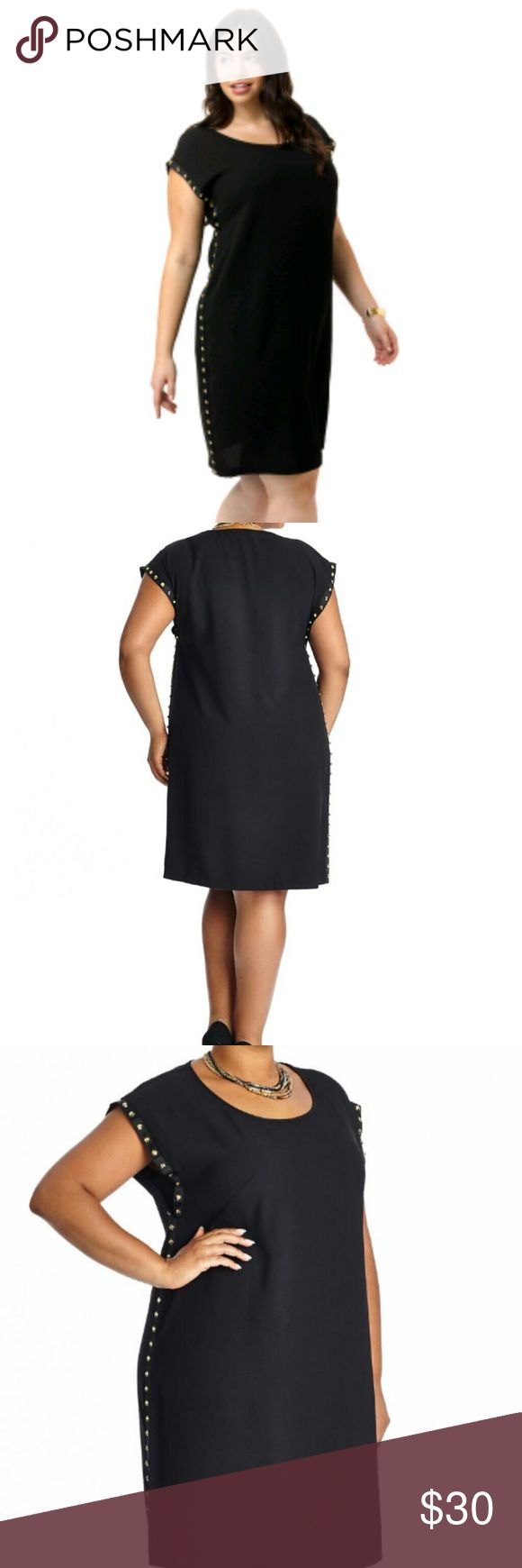 Mode mix studded shift dress Stud embellishments march up the sides of a classic shift silhouette, rendered in elegant crepe. Round necklineShort sleevesStudded details along both sidesLinedPolyester/spandexHand washImported.Boutique sales tag ONLY moda mix Dresses