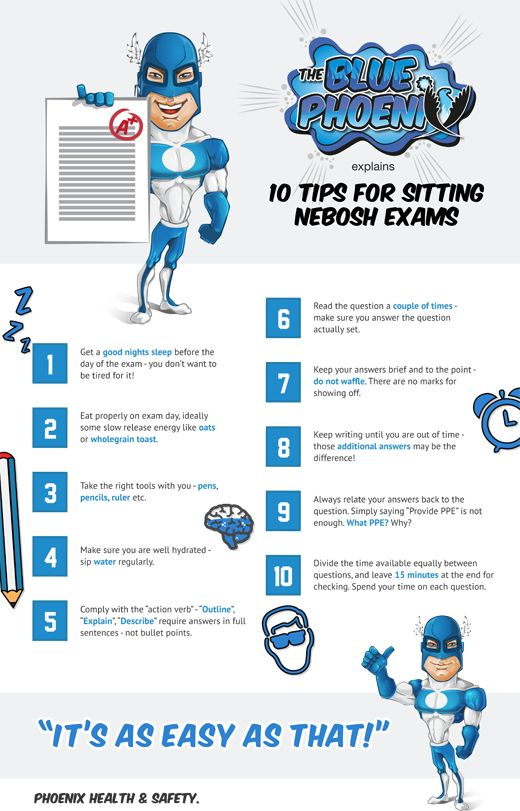 10 Tips For Sitting NEBOSH Exams Designed Phoenix HSC Infographic