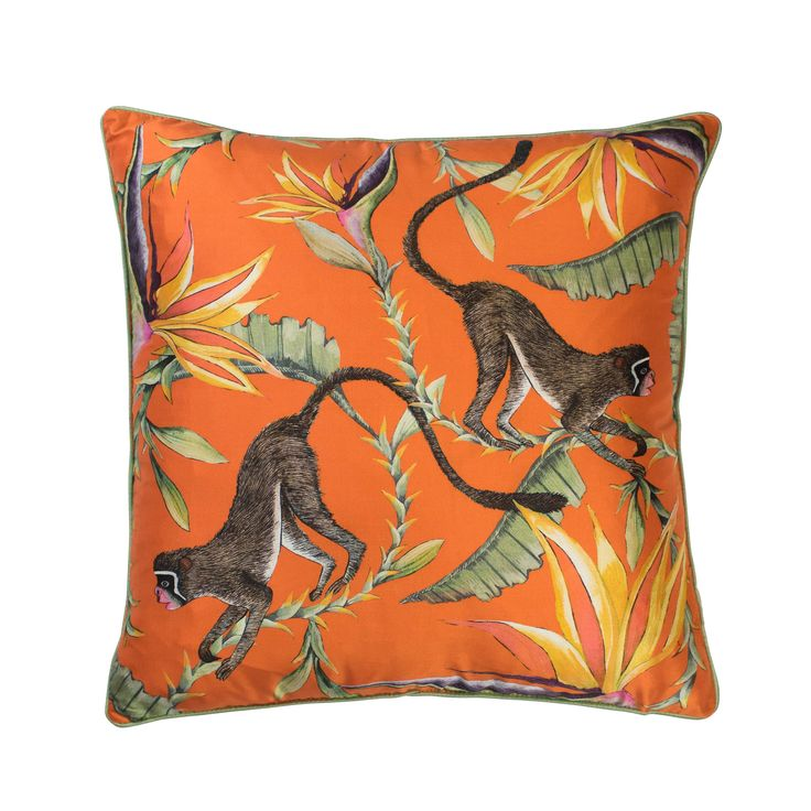Monkey Paradise 100% silk cushion in Flame