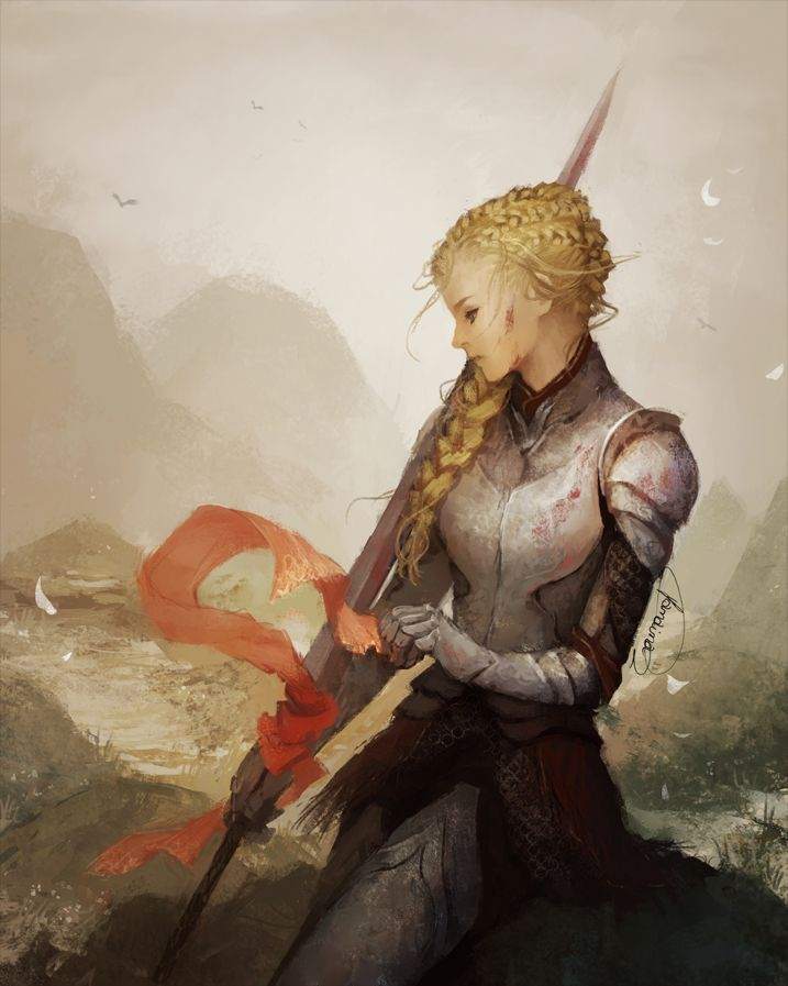 Lady Knight by JanainaArt blonde female paladin fighter princess armor clothes clothing fashion player character npc | Create your own roleplaying game material w/ RPG Bard: www.rpgbard.com | Writing inspiration for Dungeons and Dragons DND D&D Pathfinder PFRPG Warhammer 40k Star Wars Shadowrun Call of Cthulhu Lord of the Rings LoTR + d20 fantasy science fiction scifi horror design | Not Trusty Sword art: click artwork for source