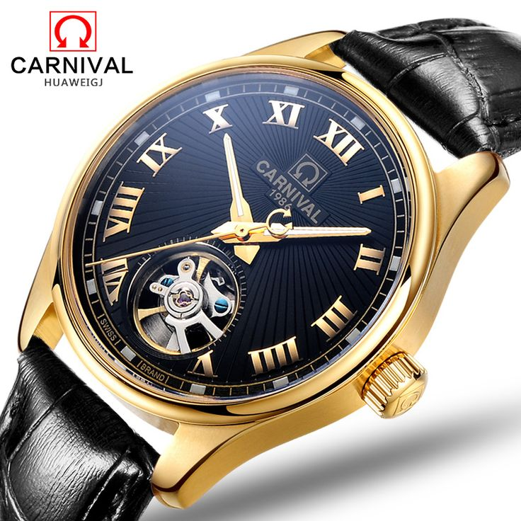>> Click to Buy << Carnival 100m tourbillon waterproof Watch Men Stainless steel Sapphire Automatic Mechanical date black Watch relogio masculine #Affiliate