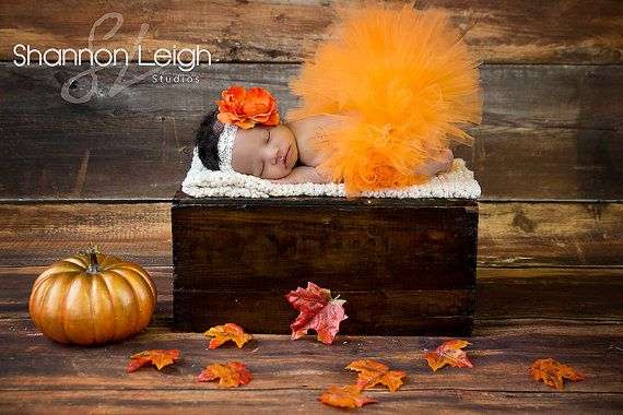 Sweet Autumn Tutu Set Fall Tutu Orange Tutu Custom Made With Matching Vintage Style Flower Headband Stunning Newborn Photo Prop