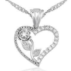 Kalbimin Gülü Kalpli Gümüş Bayan Kolyesi
