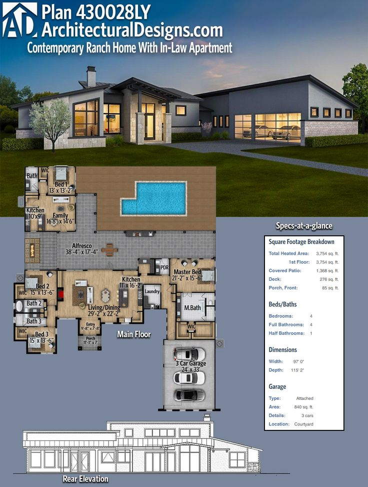 Architectural Designs Modern House Plan 430028LY has a detached in-law or guest suite complete with a bedroom, living room and kitchen off the rear porch. Over 3,700 square feet of heated living space. Ready when you are. Where do YOU want to build? #430028LY #homedesignideas  #dreamhome  #dreamhouse #homeplan #architectural  #architecture  #modern  #ModernHouse  #modernhome #modernhomedesign  #housedesign #moderndesign