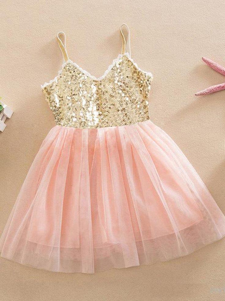 Fabulous A-line V-neck Tulle Knee-length Sequins Flower Girl Dresses