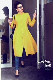 Yellow denim shirt dress