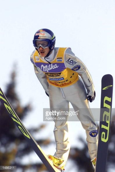 Adam Malysz of Poland in flight en route to a 2nd place at the FIS Ski World Cup Schanzentournee in Innsbruck Austria DIGITAL IMAGE Mandatory Credit...
