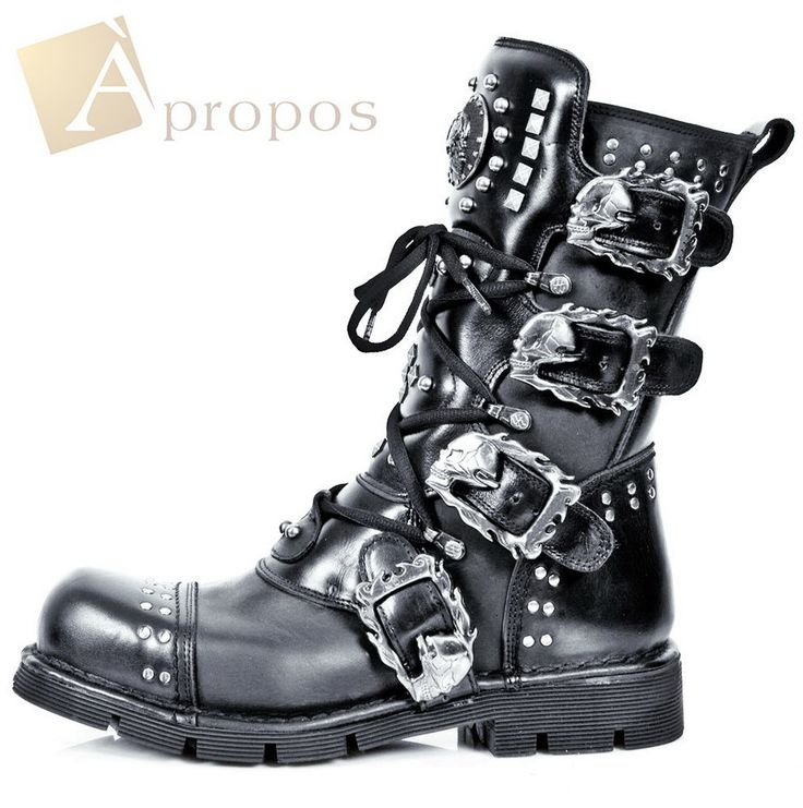 Bikerstiefel Echtleder 2cm Unisex Damen Herren Boots Luxus Totenkopf Nieten