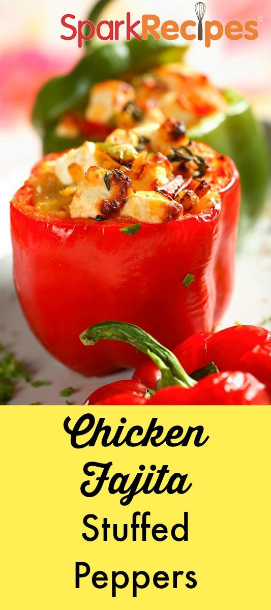 Chicken Fajita Stuffed Peppers. EXCELLENT! Hubby and I have these all the time now for lunch or supper, when the kids have regular fajitas. | via @SparkPeople #healthy #recipe #chicken