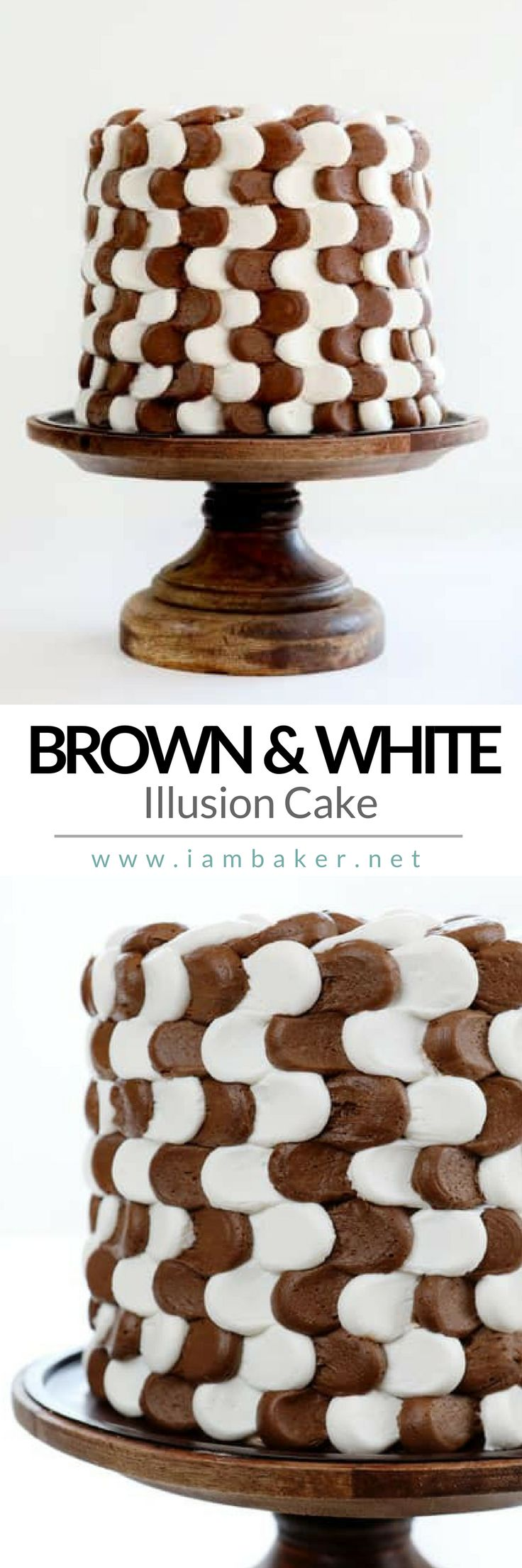 Hey, Mom! If you are looking for a creative cake recipe for a dessert for kids, try this simple yet delicious food- Brown and White Illusion Cake! With chocolate buttercream frosting you're kids will probably love all your baking sweet treats! This is not perfect but it can be the best dessert recipe you can try! More dessert recipes @iambaker #iambaker #iambakerdessert #iambakercake