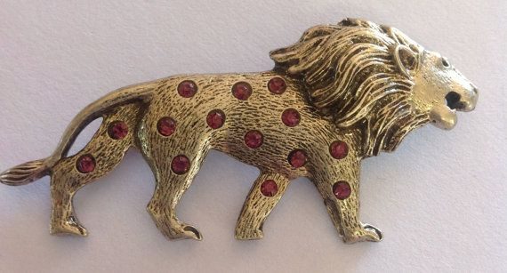 1950s Vintage lion brooch studded with ruby by AgainAgainVintage, $71.00