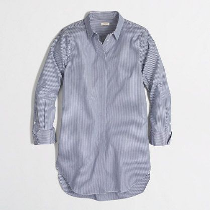 J.Crew Factory - Factory striped infinity shirt also called 'Boyfriend' shirt #jcrew #styling