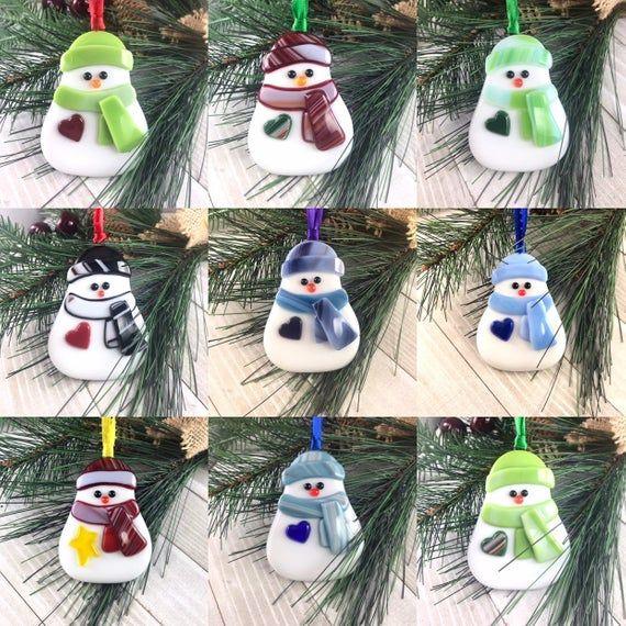 Glass snowman christmas decorations