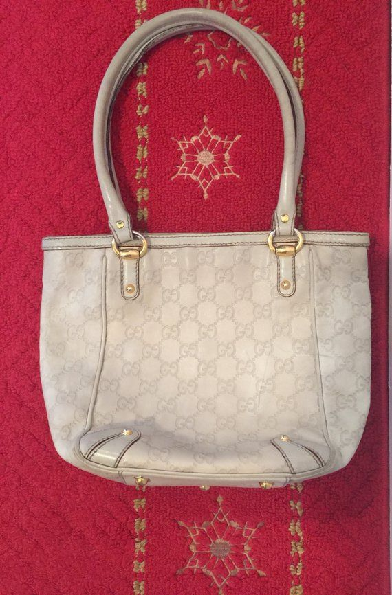 9ca23e64f7ab03 Vintage GUCCI Guccissima Small Tote/Purse, Authentic Cream Color Gucci Purse