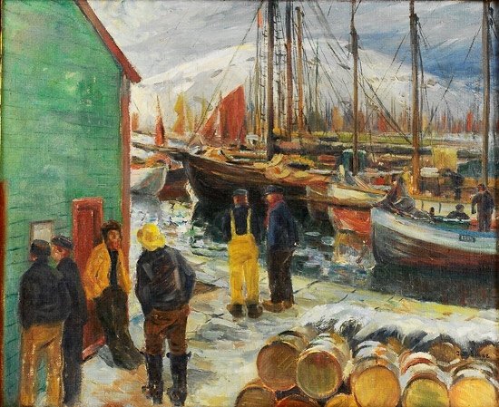 Jacob Kielland Sømme (1862-1940): Havneparti, 1911