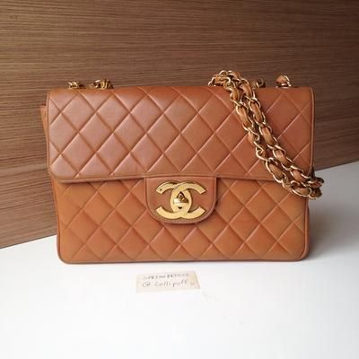 53e111b24e59 Chanel Tan Brown Lambskin Jumbo Flap Bag with Large CC Hardware | Lollipuff  | Chanel, Louis Vuitton, and More for sale at Lollipuff in 2019 | Bags,  Chanel, ...