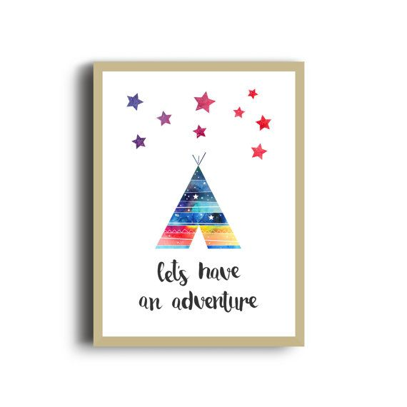 Camping Adventure Nursery Print, Watercolour Art Print, Camping Illustration, Colourful Print, Stars