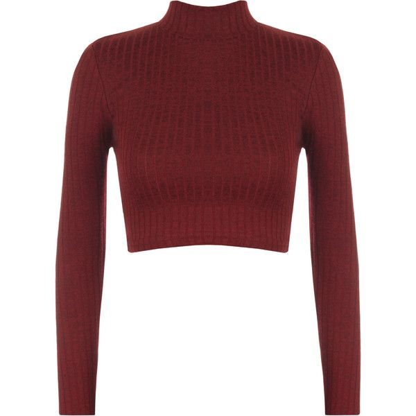 Darcie Turtle Neck Ribbed Crop Top (£11) ❤ liked on Polyvore featuring tops, sweaters, wine, red cropped sweater, red crop top, cropped sweater, cropped turtleneck sweater e turtle neck sweater