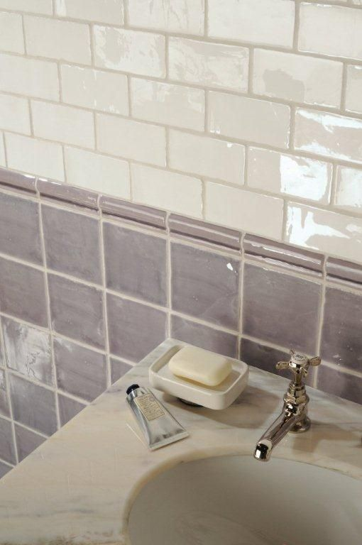 Marsh field tiles with China White half tiles. From the Cosmopolitan range at The Winchester Tile Company. Handmade ceramic tiles, made in the UK. winchestertiles.com