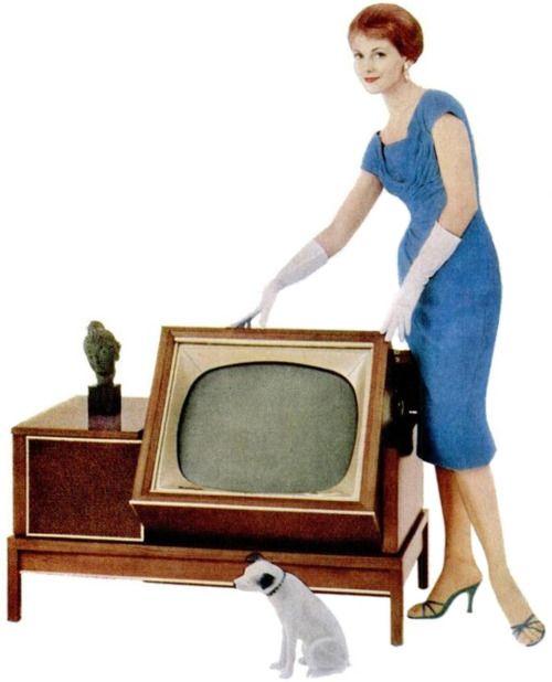 TV foldaway - Vintage Photograph / Vintage Advertisement / Retro TV / Television / RCA