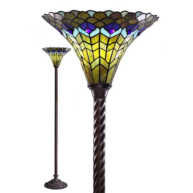 Tiffany style peacock torchiere by warehouse of tiffany for Tiffany style arroyo floor lamp