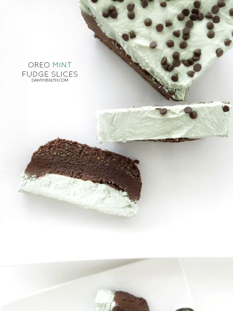 These Oreo Mint Fudge Slices are one of my favorite desserts I have ever created. It hits all the marks for a decadent, healthy, indulgent treat.  This recipe is no bake, vegan, raw, gluten free, high fibre, created with all natural ingredients and is a true chocolate mint Oreo delight!