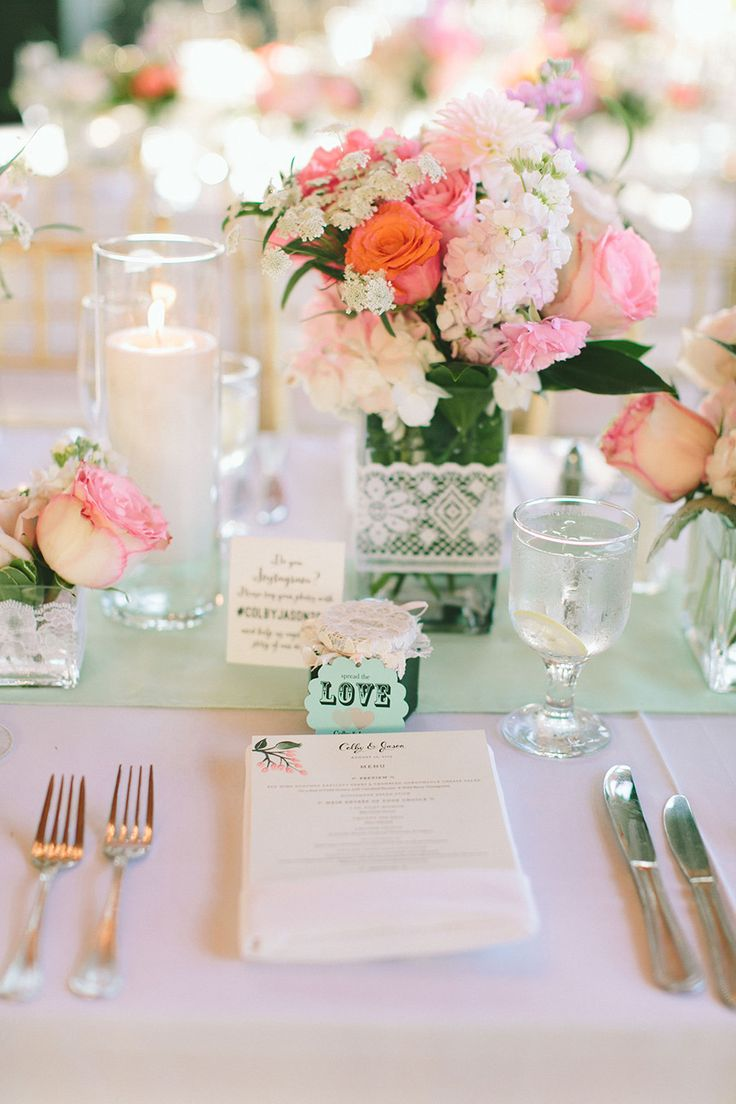 Pretty Place Setting. See this colorful wedding on SMP: http://www.StyleMePretty.com/tri-state-weddings/2014/03/06/summer-wedding-at-bonnet-island-estate/ Photography: Maggie Harkov