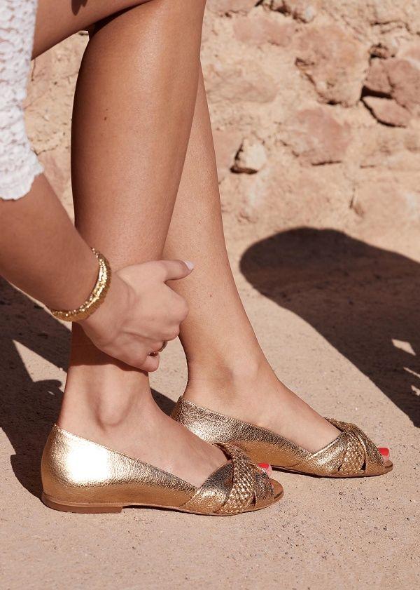 Sézane Ballerines Low Romane | Chaussures de couleur